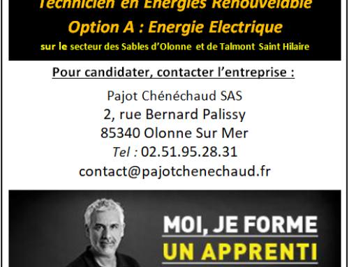 Pajot Chénéchaud recherche un apprenti en « Energie Electrique »