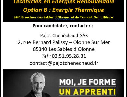 Pajot Chénéchaud recherche un apprenti en « Energie Thermique »